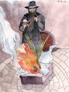 """Burning Chametz"" Watercolor and pen on paper, 2011"