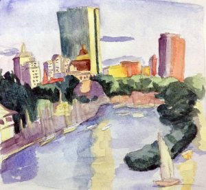 """Boston Harbor"" Watercolor on paper, 2013"