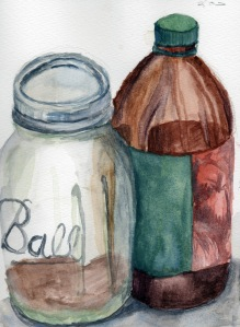 """Bottles"" Watercolor on paper, 2013"