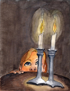 """Candles"" Watercolor and pen on paper, 2011"