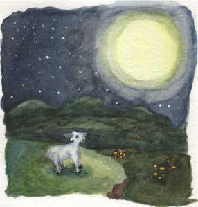 """Goat Looking at Moon"" Watercolor and ink on paper, 2011"