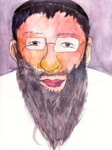 """Rabbi"" Watercolor and pen on paper, 2011"