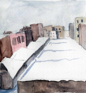 """""""Snowy Roofs"""" Watercolor on paper, 2013"""